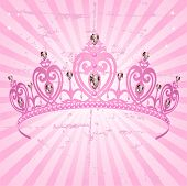 foto of princess crown  - Beautiful shining true princess crown on radial grange background - JPG