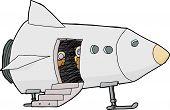 image of crew cut  - Spacecraft pilots looking from open door in isolated ship - JPG