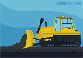 picture of dozer  - a simple also detail vector of crawling dozer side view in activity - JPG