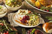 stock photo of turkey dinner  - Homemade Thanksgiving Turkey on a Plate with Stuffing and Potatoes - JPG