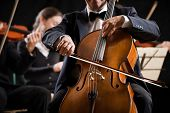 picture of orchestra  - Cello professional player with symphony orchestra performing in concert on background - JPG