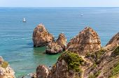 stock photo of lagos  - Ponta da Piedade beautiful rock formations near Lagos in Portugal - JPG