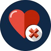 pic of x-rated  - Heart sign web icon with delete glyph