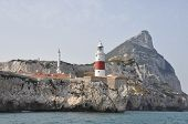 stock photo of gibraltar  - A view of Europa point Gibraltar from the sea - JPG