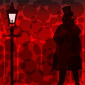 foto of ripper  - A Jack the Ripper background with shadowa and silhouette over a red background - JPG