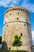 picture of macedonia  - White Tower of Thessaloniki capital of the region of Macedonia in northern Greece - JPG