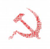 stock photo of hammer sickle  - Hammer and sickle symbol of Soviet Union isolated on white - JPG