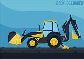 foto of backhoe  - a simple and detail vector of backhoe loader  - JPG