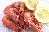 image of tiger prawn  - A plate full of cooked Australian prawns with lemon - JPG