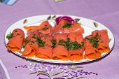 image of blubber  - Close up of smoked salmon with dill - JPG