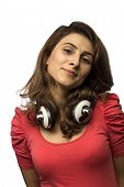 image of daydreaming  - Beautiful woman with headphones daydreaming  - JPG