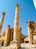 picture of cardo  - Main street cardo in Roman city. Jerash Jordan  - JPG