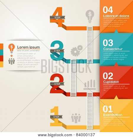 Number 1234 Step Ladder To Success With Flat Design Layout