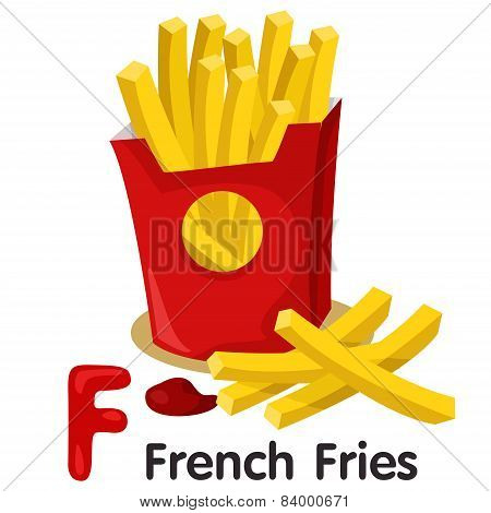 Illustrator of F font with french fries