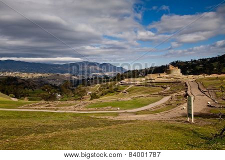 Landscape shot of Ingapirca important inca ruins in Ecuador