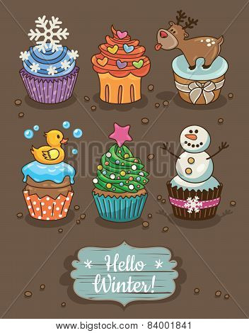 Set of winter cupcakes with different toppings
