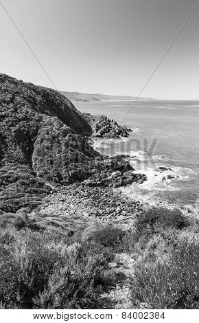 Australian Coastline Black And White