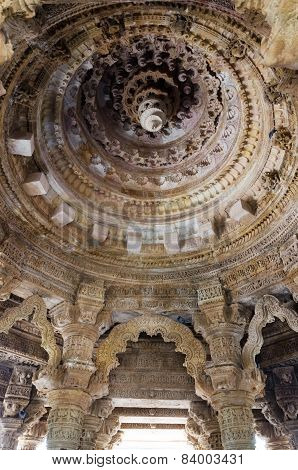 Ahmedabad India - December 25 2014: Interior Crafted Designs On Rocks At Sun Temple Modhera