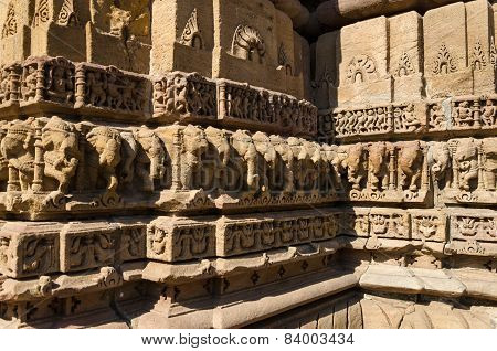 Vintage Crafted Designs On Rocks  At Sun Temple Modhera In Ahmedabad