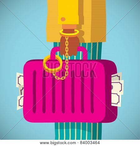 suitcase with money handcuffed to a mafia businessman hand