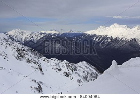 Beautiful snow-capped Caucasus Mountains.
