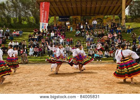 Indigenous community celebrating Inti Raymi, Inca Festival of the Sun in Ingapirca, Ecuador