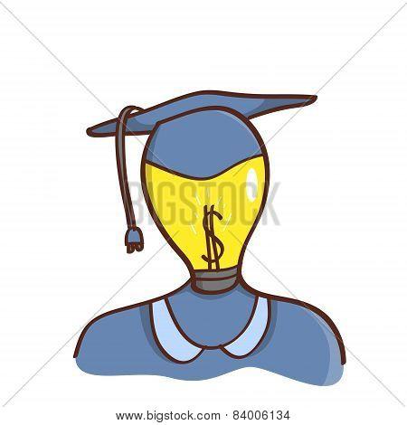 Isolated cartoon light bulb head college graduated