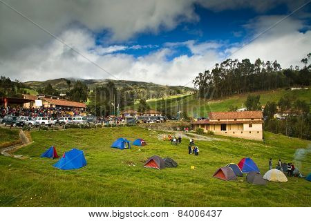 Camping tents for the celebration of Inti Raymi, Inca Sun Festival in Ingapirca, Ecuador