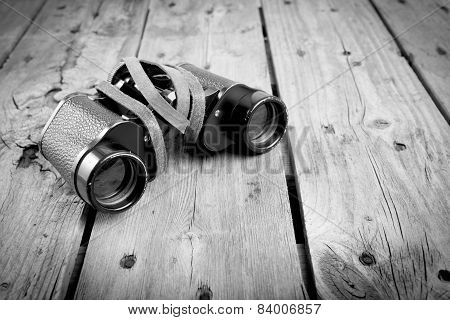 Old Binoculars Black And White