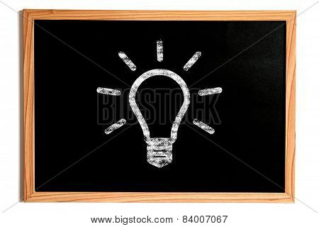 Light Bulb Shape On Chalkboard, Idea Concept
