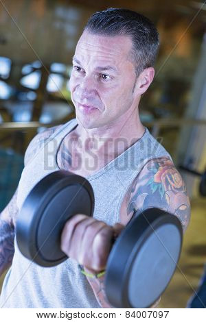 Man Making Dumbbell Alternate Curl - Workout Routine .