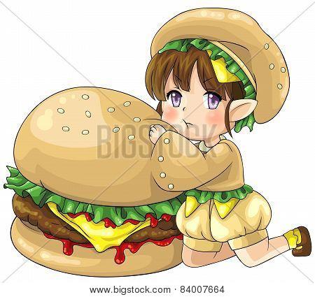 Cute Cartoon Hamburger Elf, The Goddess Of Food, Create By Vector