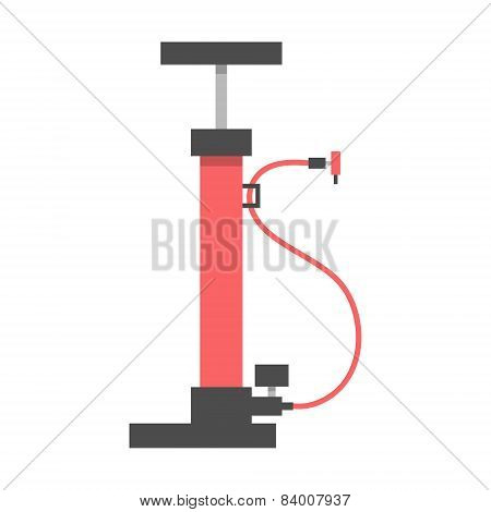 Red Bicycle Pump On White Background