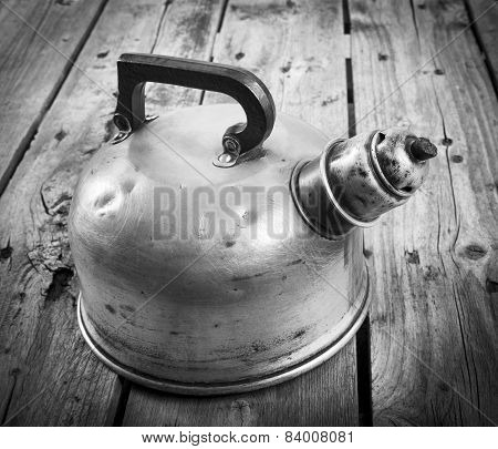 Old Tea Kettle Black And White