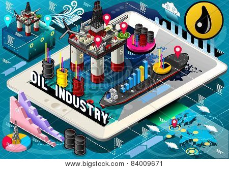 Isometric Infographic Rig Energy Set On Tablet