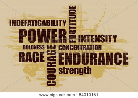 Power Word collage on a grunge background. Designed for sports
