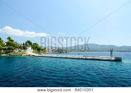 Greece, Sithonia, Old Pier In Neos Marmaras