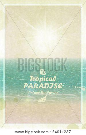 Vintage bright sunny summer card. Retro tropical paradise. Vecto
