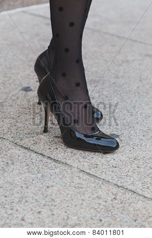 Detail Of Shoes Outside Gabriele Colangelo Fashion Show Building For Milan Women's Fashion Week 2015