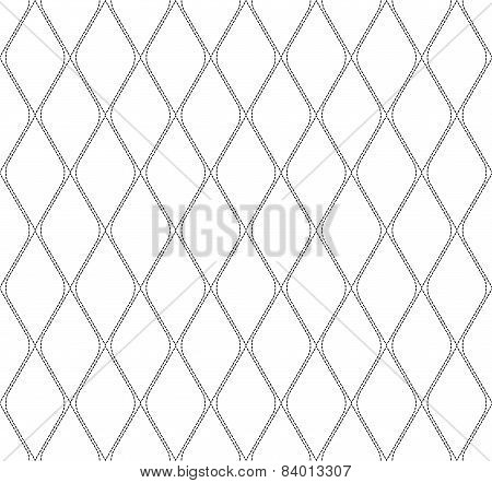 Black And White Geometric Seamless Pattern With Dashed Line, Abstract Background.