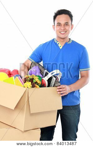 Young Man With His Stuff Inside The Box