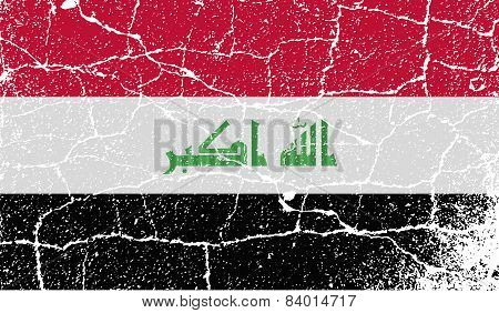Flag Of Iraq With Old Texture. Vector