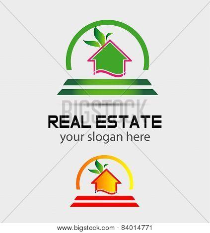 Leaf Eco home sign house logo
