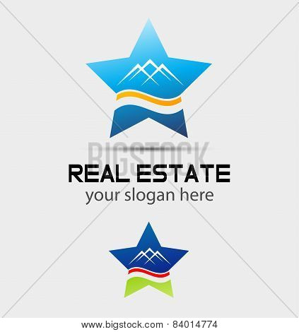House real estate and star logo