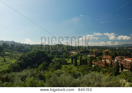 Pair of villas high up in the hills of Tuscany, Italy