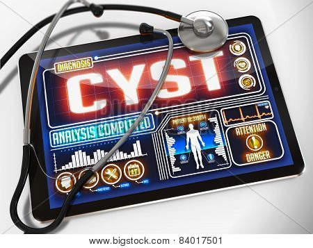 Cyst on the Display of Medical Tablet.