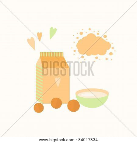 Vector Illustration With Yoghurt And Oranges On A Table