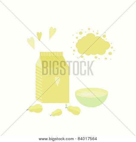 Vector Illustration With Yoghurt And Pears On A Table