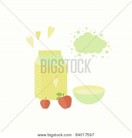 Vector Illustration With Yoghurt And Apples On A Table