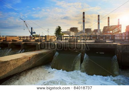Scene Of Thermal Electric Power Plant And Cool Down Water Flowing To River Good Corperated And Safe
